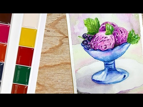 How to draw ice cream realistic watercolor speed painting watercolor tutorial drawing timelapse