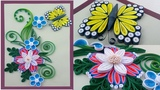 #Paper Quilling How To Make Beautiful Flowers Design And Butterfly for Birthday Gift Card