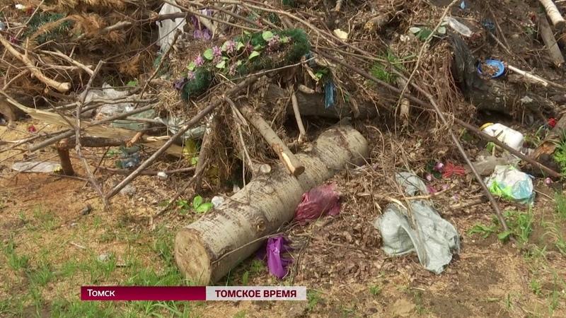 Надгробные плиты и венки в окрестностях Томска обнаружена свалка с тоннами похоронной атрибутики