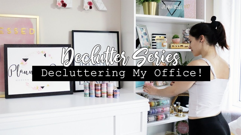 Decluttering Organizing My Office! Stickers, washi, stationary more! || DECLUTTER SERIES