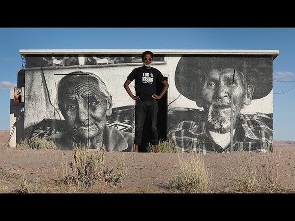 This street artist portrays Navajo life with large scale murals