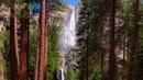 Картинка природа. США, деревья, лес, солнце, камни, Калифорния, Йосемити, водопад