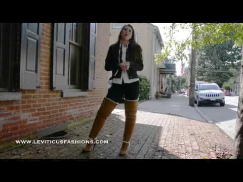 SHEEPSKIN LEATHER HIGH HEEL THIGH BOOTS ON AN AUTUMN DAY