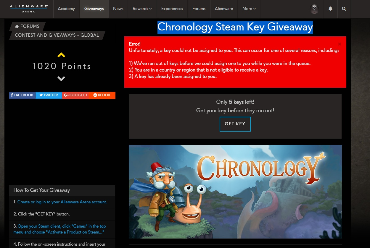 Chronology Steam Key Giveaway ERROR | Alienware Arena