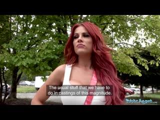 Public agent jennifer keelings reveals her huge tits in public