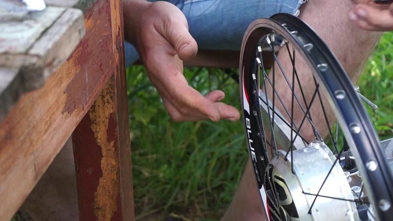 Как заспицевать мотор-колесо от гироскутера в велосипедный обод?