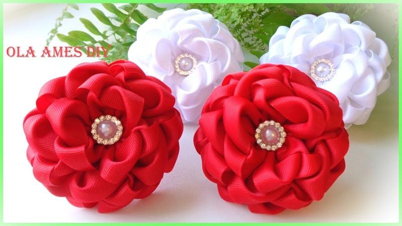 Канзаши/Цветы из репсовых лент/DIY Grosgrain Ribbon Flowers/Flores de fita/Ola ameS DIY