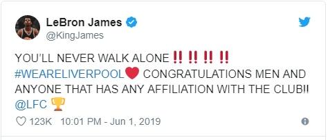 Леброн Джеймс поздравил «Ливерпуль» с победой в Лиге чемпионов