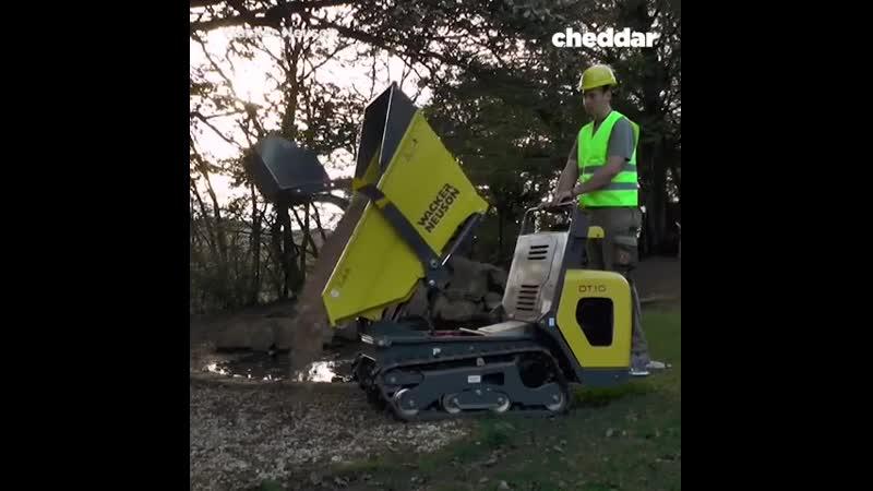 This is a ride-on wheelbarrow.