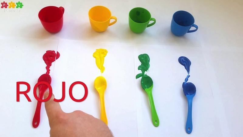 Puzzle TV. Spanish. Aprende los colores con tazas de juguete, cucharas y pinturas.