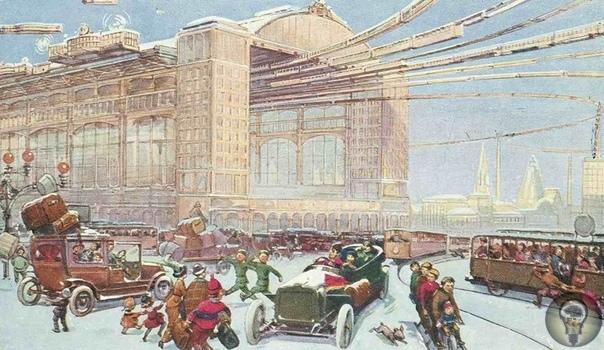 Москва будущего: футуристические транспортные проекты Дирижабли, аэросани, замкнутое бульварное кольцо так могла выглядеть столица в альтернативной реальности. Прогнозы на открытках В начале XX
