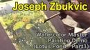 Joseph Zbukvic Watercolor Painting Landscape Sketch Demo (Lotus Pond Part1)