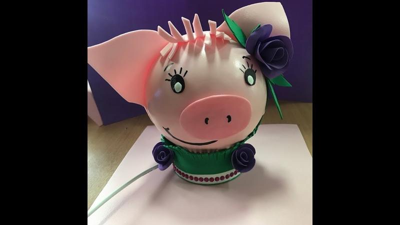 Хрюша поросенок свинка свинья светильник Подарок на новый год своими руками