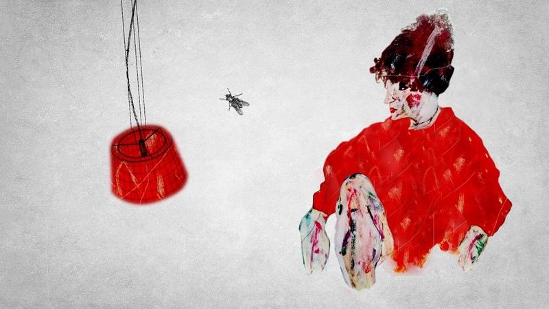 Женщина в красном Дарии Онищук. Гуашь