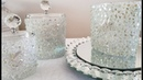 INEXPENSIVE DIY   TURNING UPCYCLED CANDLE HOLDERS INTO BLING AND GLAM MAKE UP CONTAINERS
