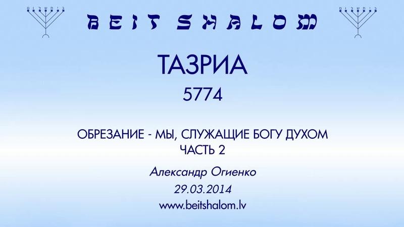 «ТАЗРИА» 5774 ч 2 «ОБРЕЗАНИЕ — МЫ, СЛУЖАЩИЕ БОГУ ДУХОМ» ЧАСТЬ 2 А.Огиенко (29.03.2014)