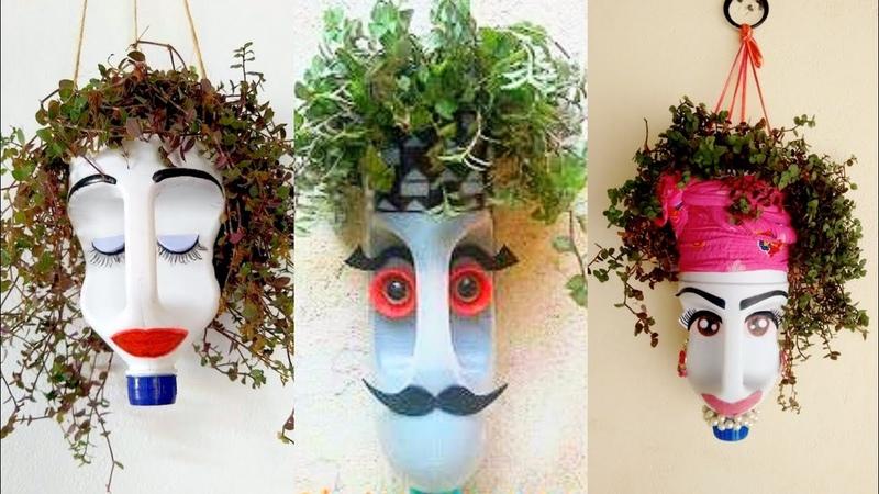 Sculpture art on plastic bottles    plastic bottles as plant pots