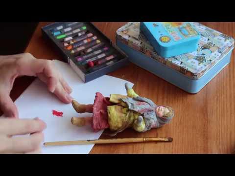 Роспись ватной игрушки. Детали / OOAK spun cotton