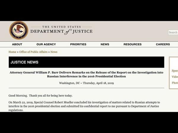 18-ABR-2019 Se Reveló el Reporte Mueller