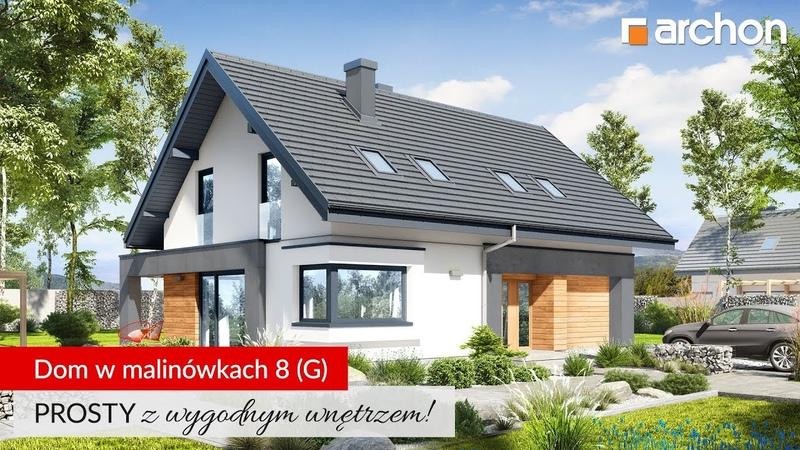 Dom w malinówkach 8 (G) to prosta bryła, ekonomiczna budowa, wygodne wnętrze
