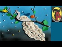 Easy wall hanging craft ideas. Peacock craft Making using cotton ear buds and wool Tarun Art
