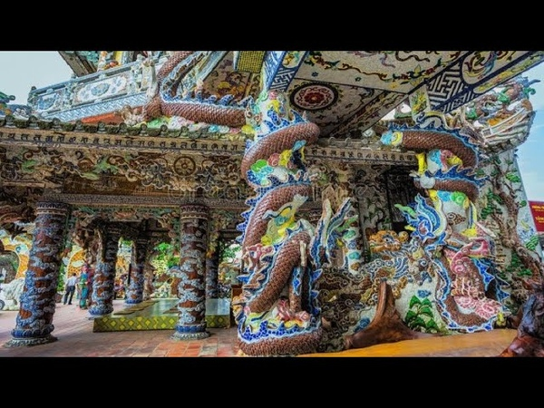 226 Вьетнам Храм Пагода ЛИНЬ ФУОК храм ИЗ ФАРФОРА ШЕДЕВР Vietnam Linh Phuoc Pagoda Porcelain temple