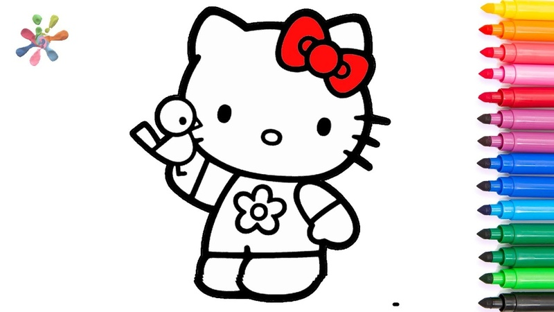 How to draw Hello Kitty and owl .drawing and coloring for kids .