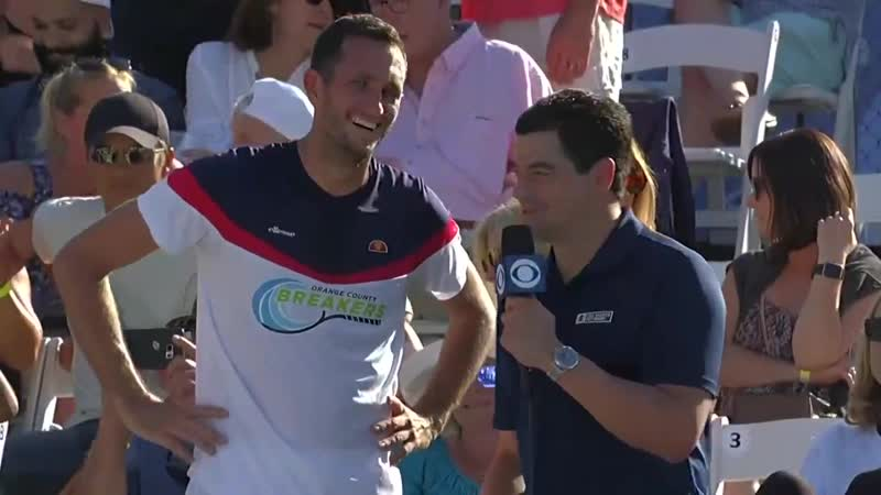 @NickGismondi talks to @JamesWardtennis after his hard-fought win over @Taylor_Fritz97 in mens singles. See if you can spot