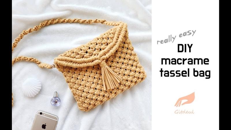 [깃들 마크라메] 태슬포인트가 귀여운 마크라메 크로스백 diy macrame tassel bag