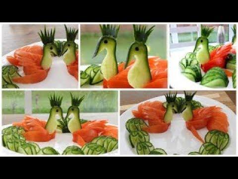 Super Salad Decoration Ideas - Cucumber Tomato Swans Plate Decoration