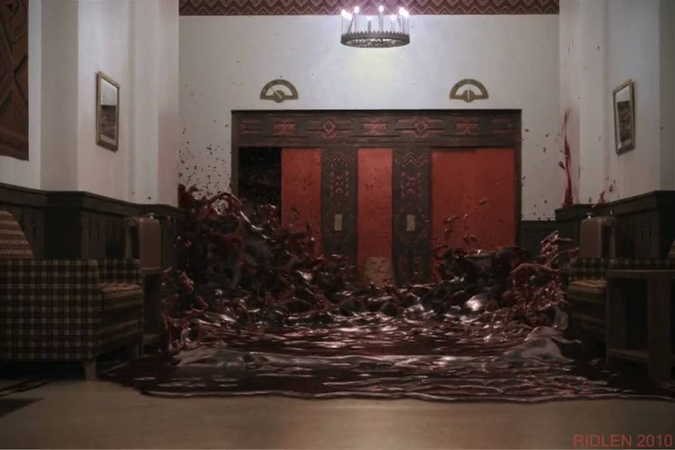 The Shining Elevator of Blood recreated with RealFlow 4 Lightwave 9.6