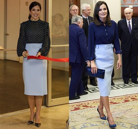 Кронпринцессе Дании Мэри и королеве Испании Летиции приглянулась одна и та же юбка от Hugo Boss.