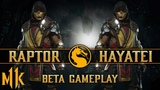 Mortal Kombat 11 Beta - Raptor vs. Hayatei - Scorpion Gameplay