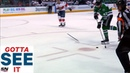 GOTTA SEE IT Mike Hoffman Whips Stick At Alex Radulov Trying To Stop Empty Net Goal