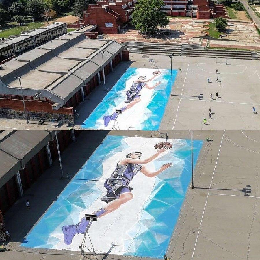 В Белграде баскетбольный корт украсили изображением Богдана Богдановича