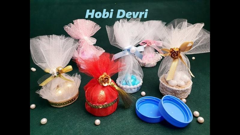 DIY Making Candy Basket With Plastic Bottles Cap Wedding Favors Plastik Kapaklardan Nikah Şekeri