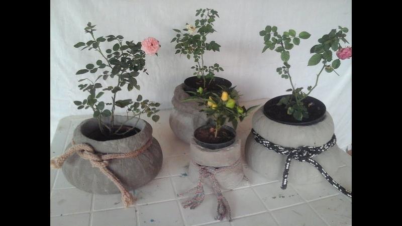 Vaso de cimento em formato de saquinho