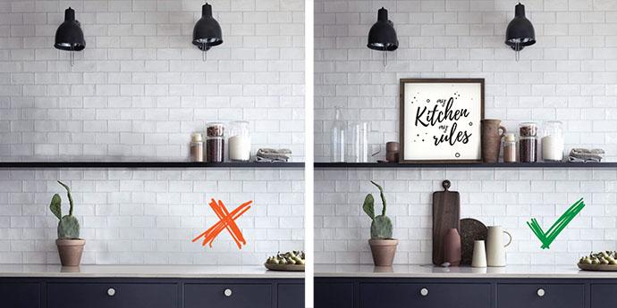 декорируем открытые полки на кухне