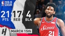 Joel Embiid Full Highlights 76ers vs Kings 2019.03.15 - 21 Pts, 17 Reb, 4 Blocks!