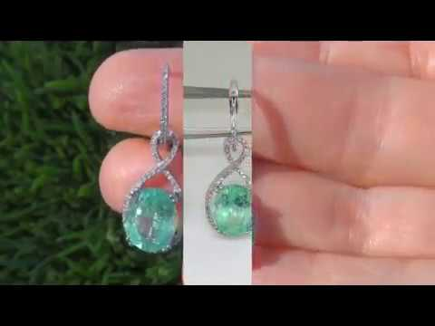 $11,550 GIA Untreated Natural Colombian Emerald Diamond Earrings - Beverly Hills Collection