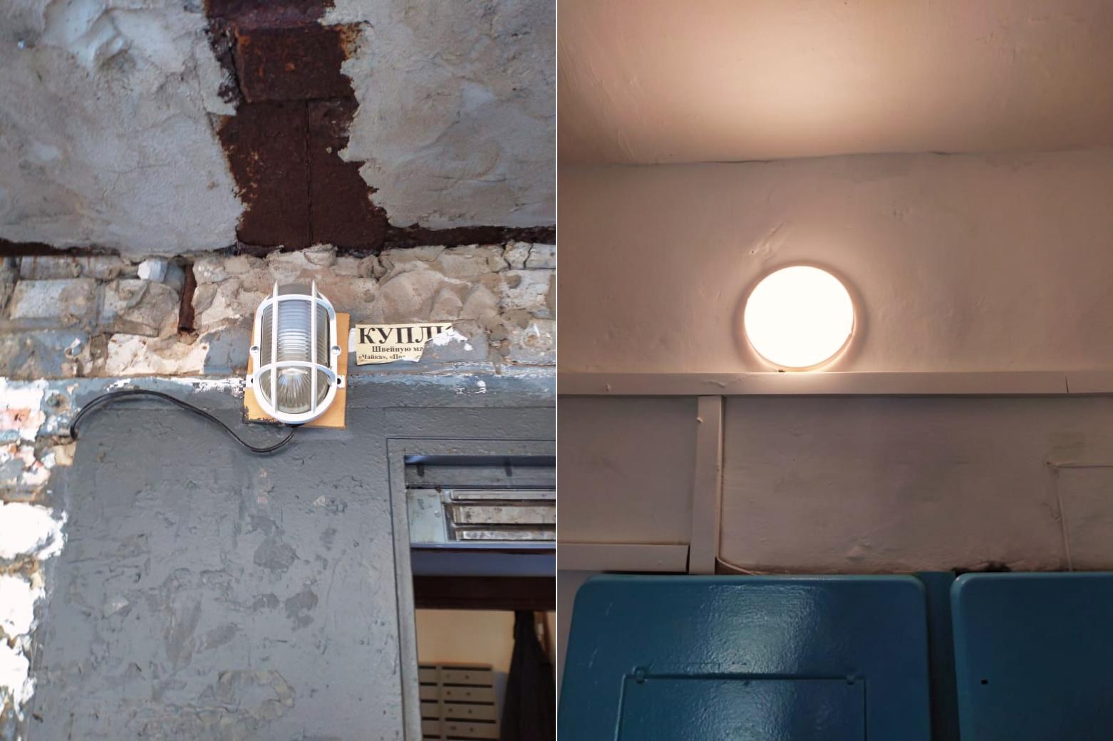 Заменили освещение в первом подъезде в Северном, 16