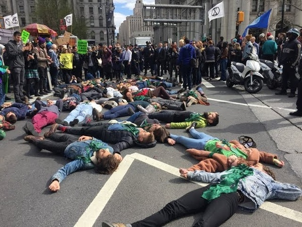 62 Arrested After Extinction Rebellion Stages Die-In Outside NYC City Hall To Demand Climate Action
