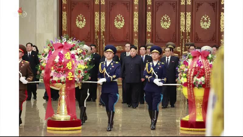 경애하는 최고령도자 김정은동지께서 민족최대의 경사스러운 태양절에 즈음하여 금수산태양궁전을 찾으시였다