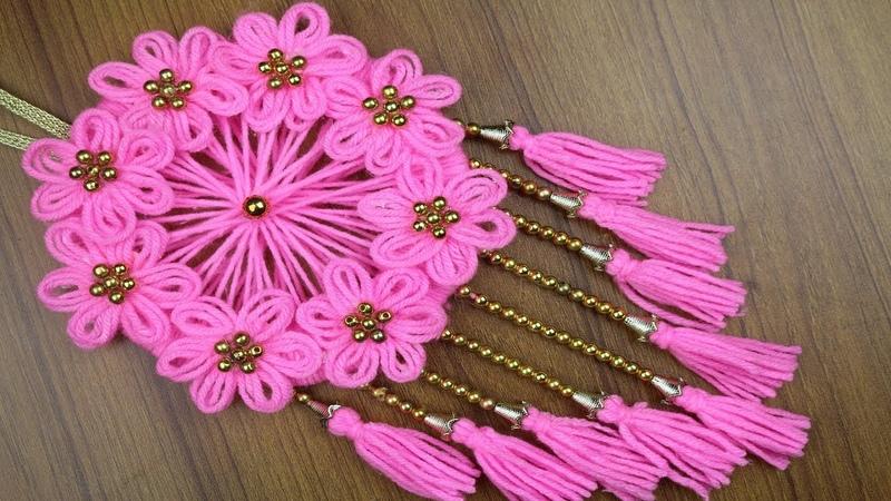 Woolen Craft Idea - How To Make Beautiful Woolen Door/Wall Hanging - Best reuse ideas- Woolen Design