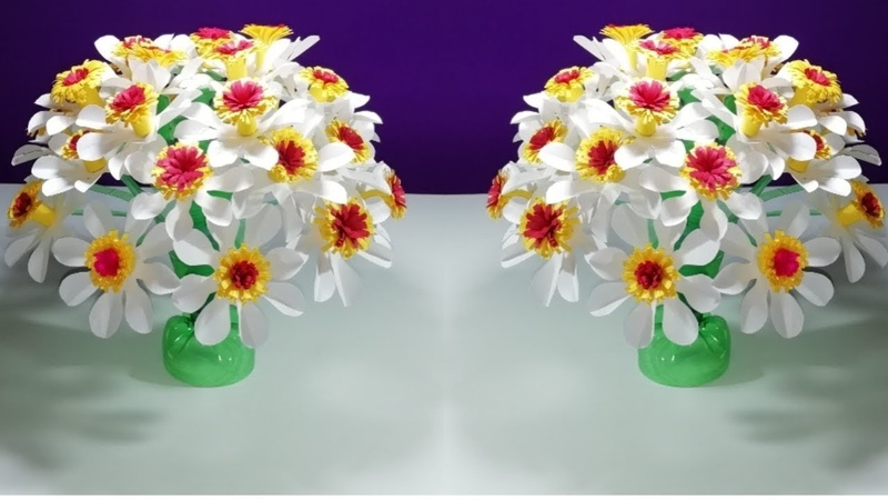 Easy Beautiful flower    Empty plastic bottle vase making crafte-Water bottle Recycle flower Art