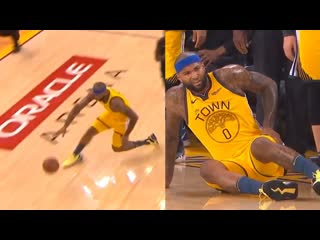 Demarcus cousins went down with a non-contact injury and stayed down _ warriors vs clippers - game 2