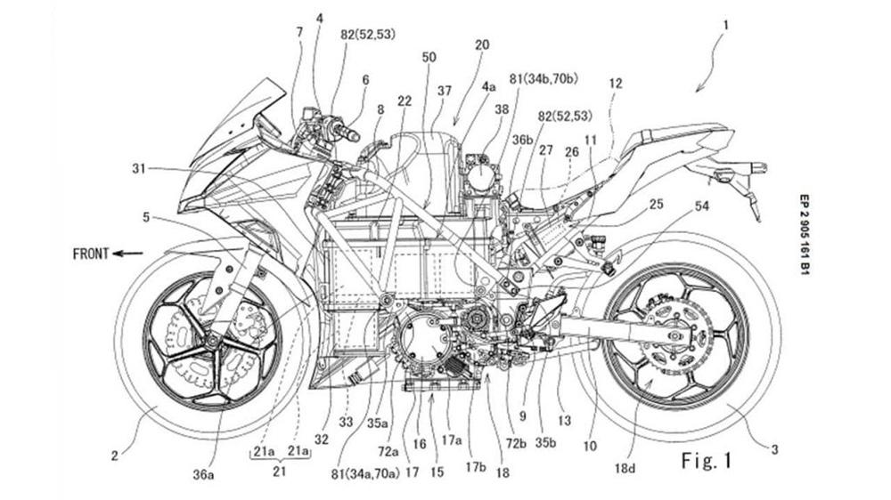 Электрический Kawasaki Ninja 400 засветился в патентах