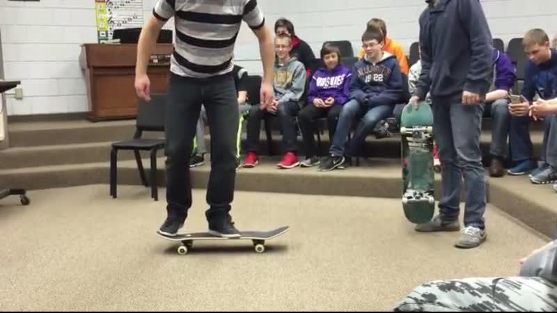 Teacher is psyched that he can still heelflip