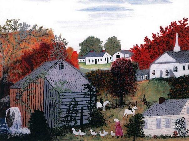 Наивное искусство. Анна Мэри Мозес Анна Мэри Мозес (1860-1961) - американская художница-любительница. Бабушка Мозес прожила 101 год, а рисовать начала ближе к 70-ти. Она изображала сельские