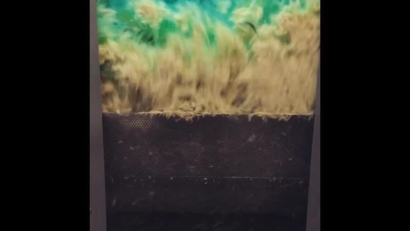 Пылеудаление с перьевой подушки.